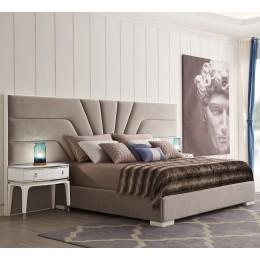 Кровать RIMINI  отделка белый блестящий лак, ткань R6012A-53